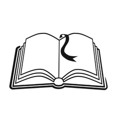 Book with bookmark icon in black style isolated on vector image vector image