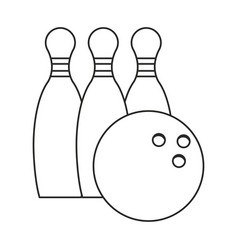 Bowling ball pin sport thin line vector