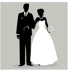 Bride and groom silhouette - vector