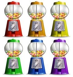 Bubble gum machine in different colors vector