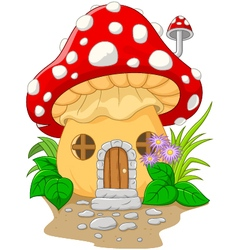 Cartoon mushroom house vector image