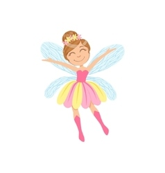 Cute Fairy In Pink And Yellow Dress Girly Cartoon vector image