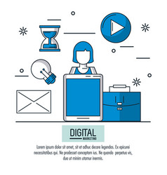 digital marketing and advertising infographic vector image vector image