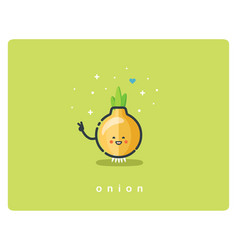 flat onion icon food cartoon cute character vector image vector image