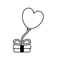 gift box balloon heart festive valentine outline vector image vector image