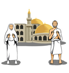 hajj pilgrim praying in front of mosque vector image vector image