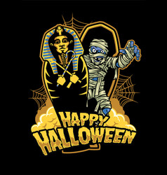 Halloween design mummy out from sarcophagus vector