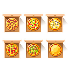 hot pizza in craft paper box vector image