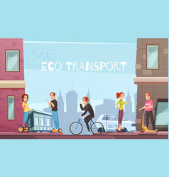 Individual eco transport city poster vector