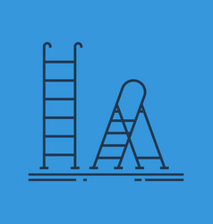 isolated linear icon of ladder and stepladder vector image