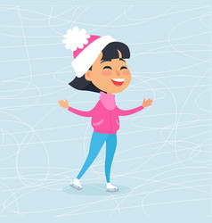 Isolated smiling cartoon girl skating on icerink vector