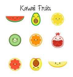 Kawaii fruit collection icon vector