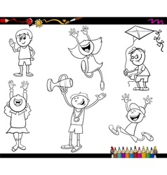 kids characters coloring page vector image vector image