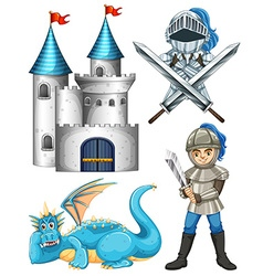Knight and dragon vector