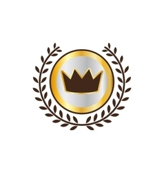 Label with crown and laurel wreath icon vector