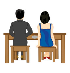 Man and woman at the table vector