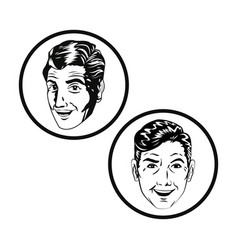 Men face comic style black and white vector