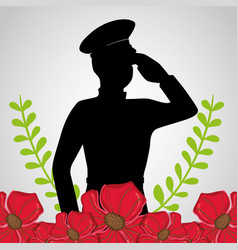 Military soldier with flowers to anzac day vector