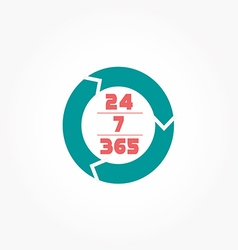 Open 24 hours day and 7 days week icon vector image