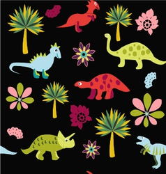 Pattern with cute cartoon dinosaurs vector
