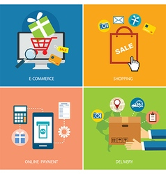 set of e-commerce and shopping concept flat design vector image vector image