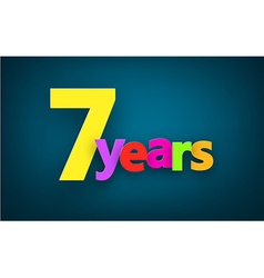 Seven years paper sign vector image vector image