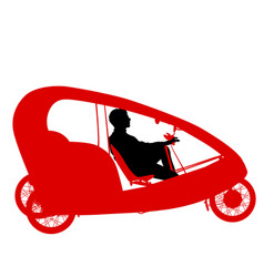 Silhouette of a tricycle male on white background vector