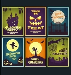 six halloween card collection vector image