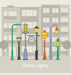 street lamps and lamp posts banner vector image vector image
