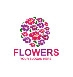 stylish flowers logo vector image