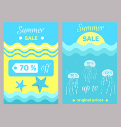 summer sale poster abstract cartoon jellyfishes vector image