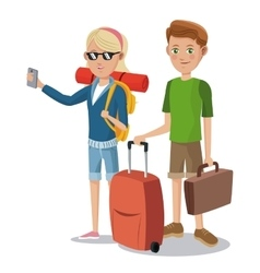 travel young couple tourist vacation suitcase vector image
