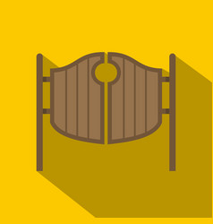 Vintage western swinging saloon doors icon vector
