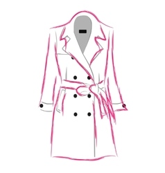Womens coat with a belt vector image vector image
