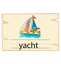 Wordcard template for word yacht vector