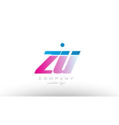 zu z u alphabet letter combination pink blue bold vector image vector image