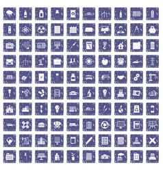 100 company icons set grunge sapphire vector