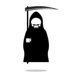 Grim reaper with scythe death in black hood cloak vector