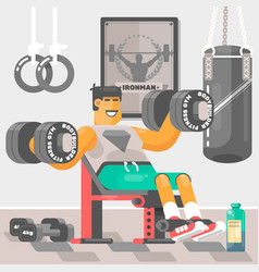 Strong bodybuilder sportsman weightlifter doing bi vector