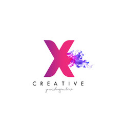 X letter logo design with ink cloud flowing vector