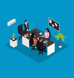 Isometric business teamwork concept vector