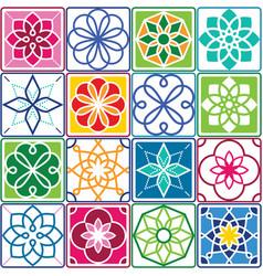 portuguese tiles pattern - azulejo seamless vector image