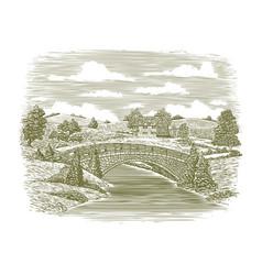 Woodcut bridge scene vector