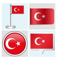 Turkey flag - sticker button label flagstaff vector image