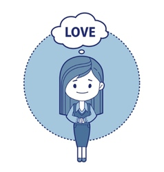 Character girl think about love vector