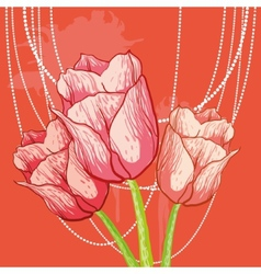 Tulip background with peal beads vector