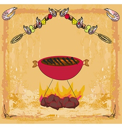 Stylized yummy shrimp kabob on the grill vector