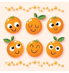 Happy cartoon oranges vector