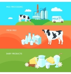 Milk flat banners set vector