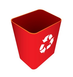 Red recycle trash can vector